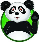 Panda cartoon with hand waving