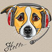 vector dog Jack Russell Terrier, call center operator with phone
