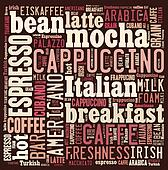 Word cloud of words related to coffee