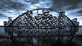 Bridge skyline near night city