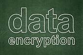 Safety concept: Data Encryption on chalkboard background