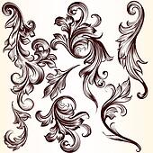 Collection of vector decorative swirl elements for design