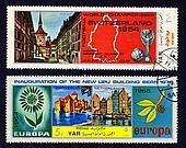 2 Yemen postage stamps