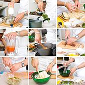 hands of chefs in the process