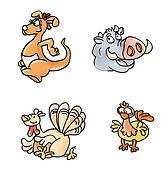 animals kangaroo, chicken,