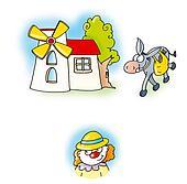 windmill, donkey,