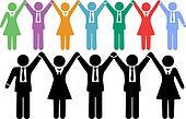 Business people symbols holding hands celebrate
