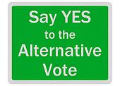 Photo realistic \'say yes to alternative vote\' sign, isolated