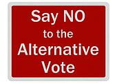 Photo realistic metallic, reflective \'say no to alternative vote\' sign, isolated