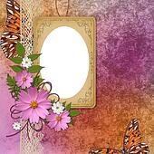 vintage frame over grunge orange with purple  background