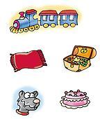 train, wolf, cake,