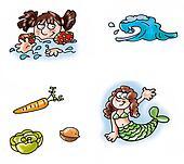 mermaid swim wave,