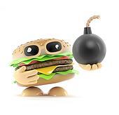 3d Burger has a bomb