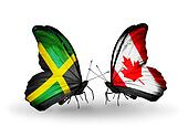 Two butterflies with flags on wings as symbol of relations Jamaica and Canada