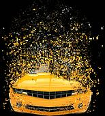 Yellow muscle car - pixels