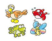 duck, fish, frog, butterfly