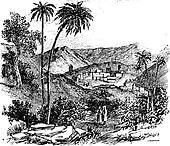 Bethany or Biblical village, Jerusalem, vintage engraving.