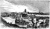 Bern city in late 1800s, Switzerland , vintage engraving.