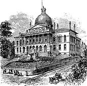 State House or Massachusetts State House or The New State House, Beacon Hill, Boston, Massachusetts, USA vintage engraving
