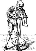 A medieval crossbowman soldier vintage engraving.
