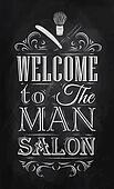 Poster Barbershop welcome chalk