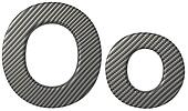 Carbon fiber font O lowercase and capital letters