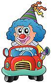 Cartoon clown driving car