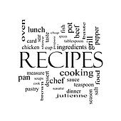 Recipes Word Cloud Concept in black and white