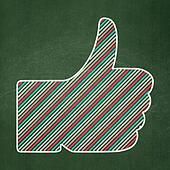Social media concept: Thumb Up on chalkboard background