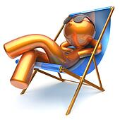 Man character chilling relaxing beach deck chair sunglasses