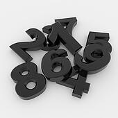 Black 3D numbers
