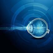Human eye vision, abstract blue illustration