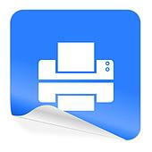 printer blue sticker icon