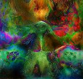 fairy emerald green phoenix bird, colorful ornamental fantasy painting, collage