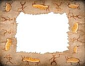 prehistoric painting frame with copyspace