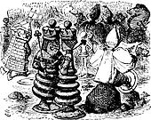 The Red Queen and the Red King - Through the looking glass and what Alice found there original book engraving