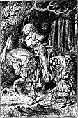 Frontispiece: Alice and the White Knight vintage engraving