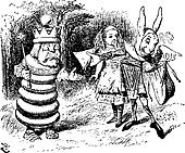 The Messenger Hands a Sandwich to the White King - Through the Looking Glass and what Alice Found There original book engraving