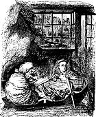 Alice Rows the Sheep - Through the Looking Glass and what Alice Found There original book engraving