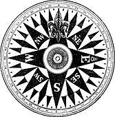 British Navy Compass, vintage engraving.