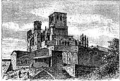 Bezier Cathedral or Saint-Nazaire Cathedral, Beziers, France, vintage engraving.