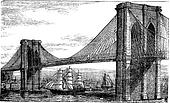 Illustration of Brooklyn Bridge and East River, New York, United States. Vintage engraving from 1890s