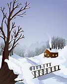 Winter landscape with cottage in the woods