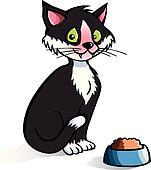 Cartoon cat with food bowl