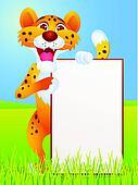 Cheetah cartoon with blank sign