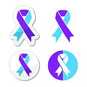 Purple and blue ribbon symbol