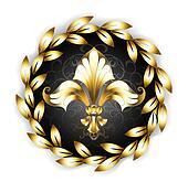 Gold Fleur-de-lis with a Laurel Wreath