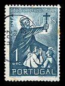 priest with cross postage stamp