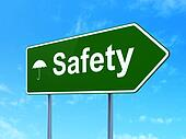Privacy concept: Safety and Umbrella on road sign background