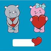 rhino baby cartoon love set